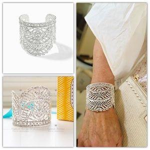 Stella and Dot Thea Lace Cuff Silver Bracelet